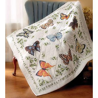 Kreuz Stich Schoß Quilt 45 X 45 '' Butterfly Collection 45178 gestempelt