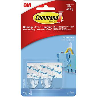 Command Small Hook 2/Pkg-2 Clear Hooks & 4 Strips 17092CLR