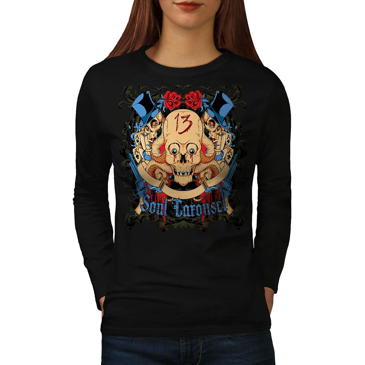 Soul Carousel Gun Casino Women Black Long Sleeve T-shirt | Wellcoda