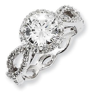 Sterling Silver CZ Round Twisted Ring - Ring Size: 6 to 8