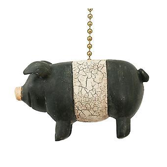 Czarno-białe Maciek prymitywnych ludowych świnia sufitu wentylatora ściągać lub naciągając łańcucha