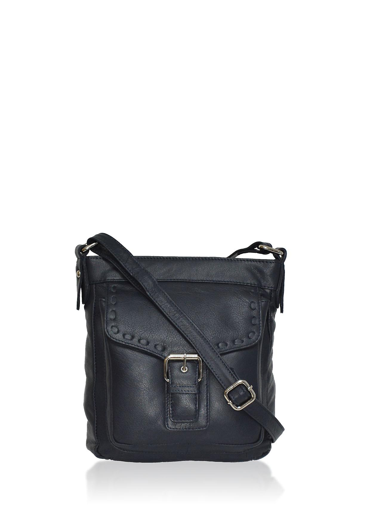 Roma Leather Across Body Bag in Navy