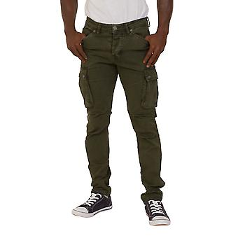 Mens Slim Fit Cargo Trousers Green Army Combat Pants