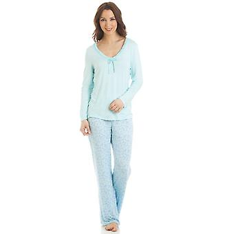 Camille Long Sleeve Floral Print Aqua Pyjama Set