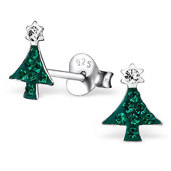 Christmas Tree - 925 Sterling Silver Crystal Ear Studs - W21900x