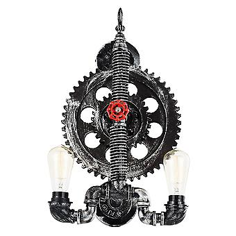 Black and Silver Industrial Wall Light Fitting with Cog Wheel Design
