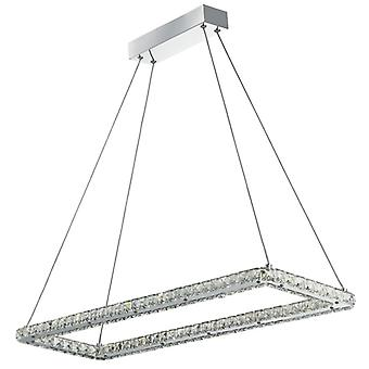 Clover Chrome And Crystal Rectangle Frame Led Pendant - Searchlight 7012cc