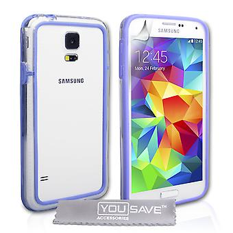 Yousave Accessories Samsung Galaxy S5 Bumper Case - Clear-Blue