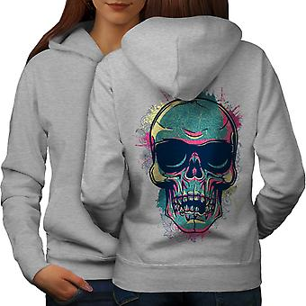 Hipster lunettes Skull femmes GreyHoodie dos | Wellcoda