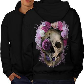 Skull Flower Rose Men BlackHoodie Back | Wellcoda