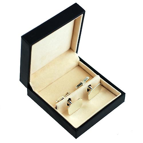 9ct White Gold 18x12mm plain cut corner swivel Cufflinks