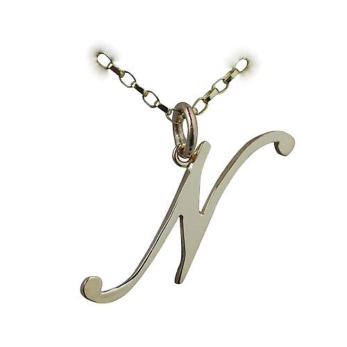 9ct 30x11mm plain Initial N Pendant with a belcher chain