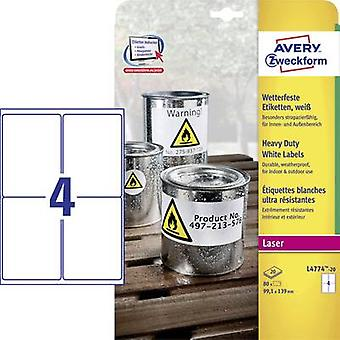 Avery-Zweckform L4774-20 Labels (A4) 99.1 x 139 mm Polyester fil