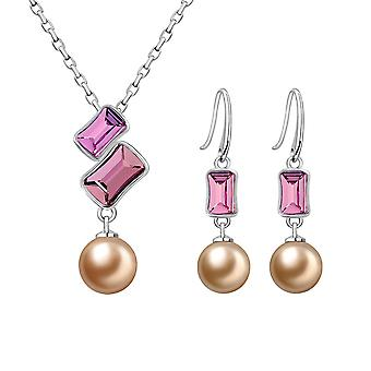 Pearl and Crystal Swarovski Elements Rose adornment and Rhodium plate