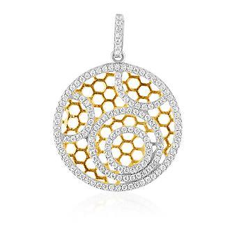 Solar cirkel hanger goud en zilver 925 en 142 Zirconia witte Swarovski Crystal