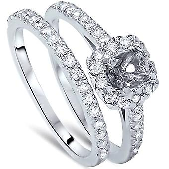 3/4ct Cushion Halo Engagement Ring Setting & Band 14K White Gold