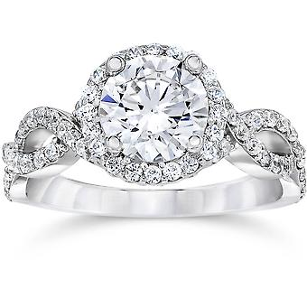 2.25CT Halo Infinity diamant Engagement Ring 14K hvidguld