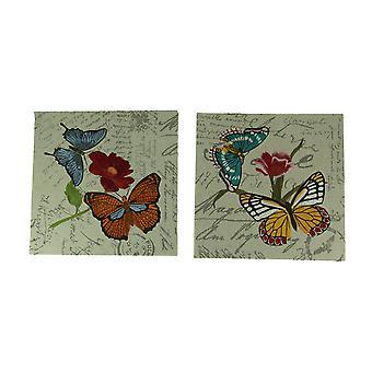 حديقة فراشة مطرزة بطاقة بريدية الطباعة قماش الجدار الديكور مجموعة 2