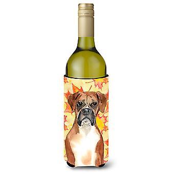 Fall Leaves Boxer Wine Bottle Beverge Insulator Hugger