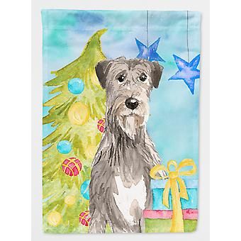Carolines Treasures  CK1876GF Christmas Tree Irish Wolfhound Flag Garden Size