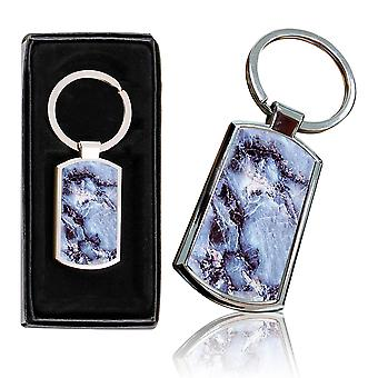 i-Tronixs - Premium Marble Design Chrome Metal Keyring with Free Gift Box (1-Pack) - 0039