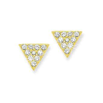 s.Oliver jewel ladies silver gold cubic zirconia earrings triangle 2012658