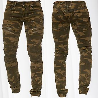 Men's Jeans Pants Camouflage Ornamental Seams Panel Biker Knee Slim Fit
