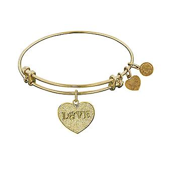 Stipple Finish Brass Love With Paw Angelica Bangle Bracelet, 7.25