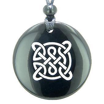 Liv beskyttelse keltiske skjold knude Amulet sort Onyx magiske Gemstone åndelige vedhæng halskæde