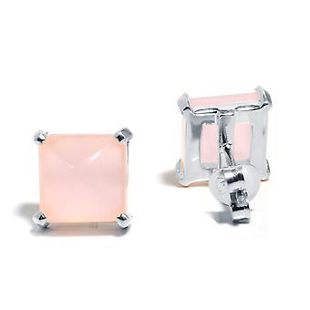 Gemshine - damer - örhängen - 925 Silver - Kalcedon - rosa - 10mm