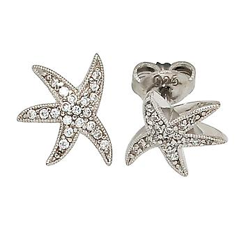 STARFISH Stud Earrings rhodium-plated 925 Sterling Silver earrings with cubic zirconia
