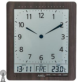 Wall clock radio ur viser tid, dato, ugedag