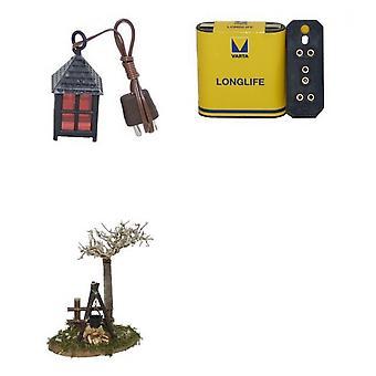 Nativity accessories Lantern camp-fire battery switch 4 PCs. Set for crib
