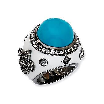 Black-plated Sterling Silver Black rhodium Enamel Simulated Turquoise and Cubic Zirconia Ring - Ring Size: 6 to 8