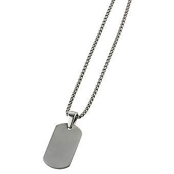 Ti2 Titanium Dog Tag Pendant and Chain - Silver