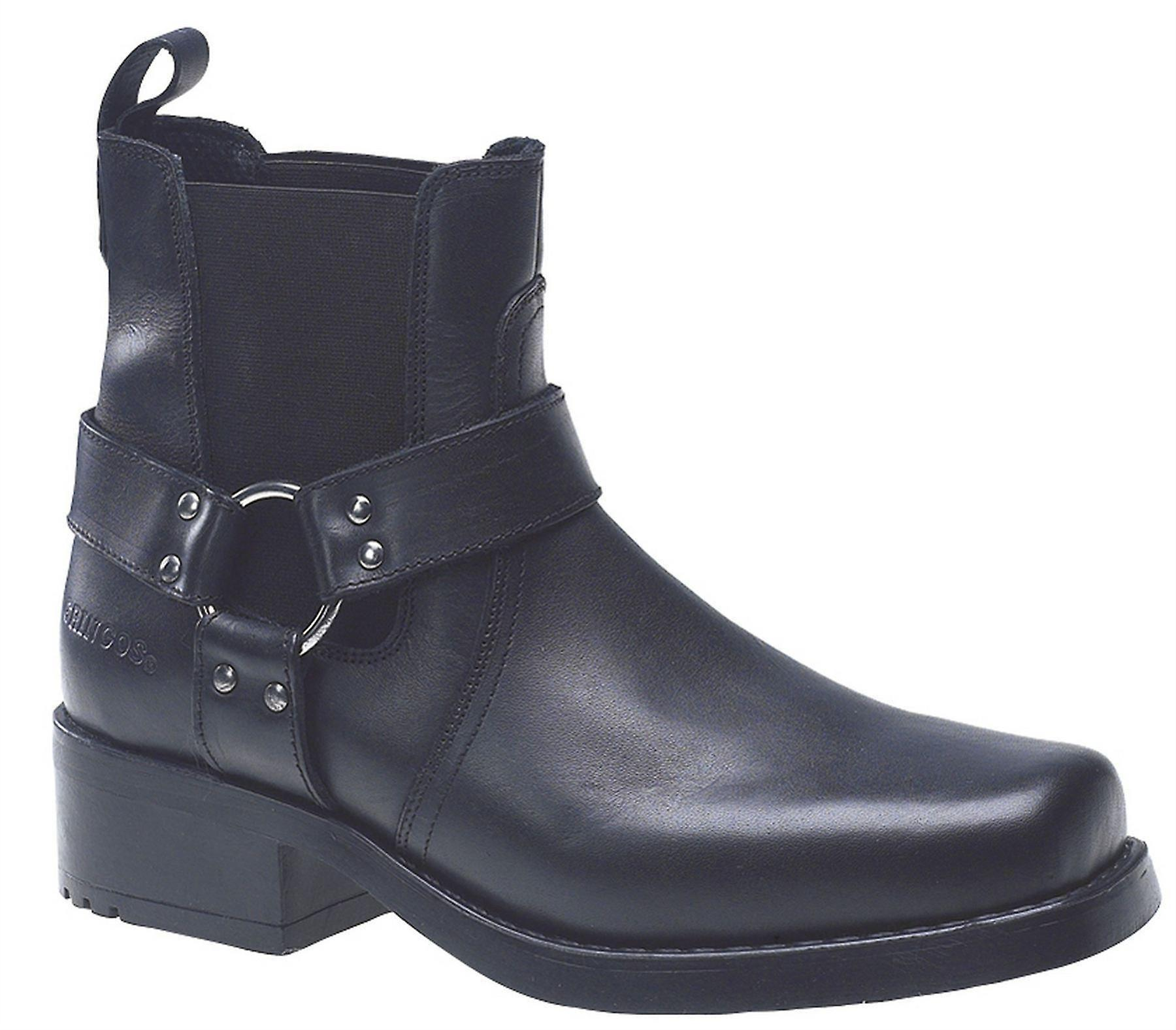 Mens Leather Slip On Gusset Harness Square Toe Ankle Biker Boots Shoes