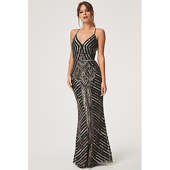Little Mistress Melania Black Deco Hand Embellished Maxi Dress