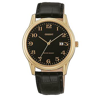 Orient fashion mens watch with leather bracelet gold