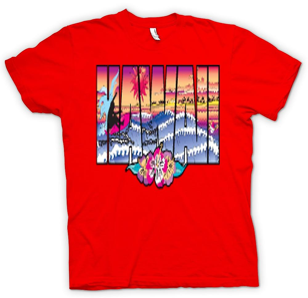 Herr T-shirt-Hawaii bokstäver med 80s Design