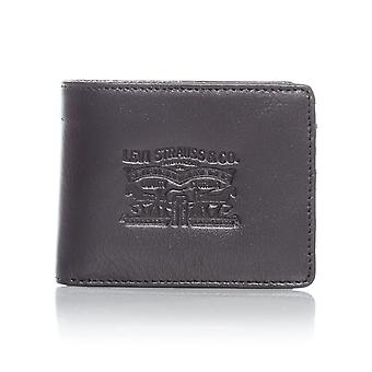 Levis Regular Black Denim-Leather with Coin Bifold Wallet