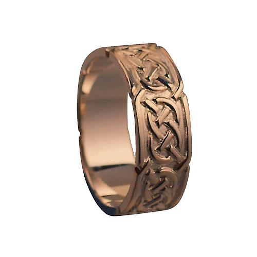 9ct Rose Gold 8mm Celtic Wedding Ring Size R