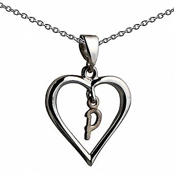 Silver 18x18mm initial P in a heart Pendant with a rolo Chain 20 inches