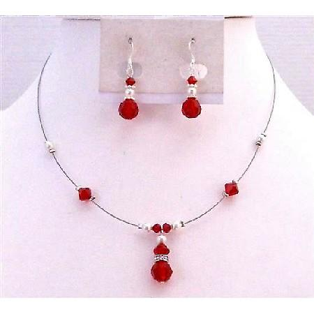 Bridesmaid Swarovski Lite Siam Red Crystals White Pearls Necklace Set