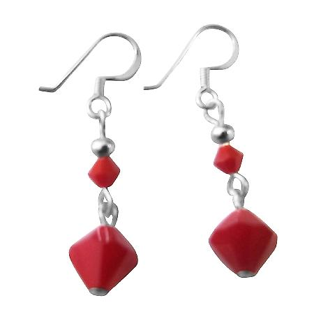 Celebrity Coral Red Swarovski Crystals Earrings