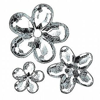 Assorted Silver Flower Shaped Acrylic Rhinestones - 310pk