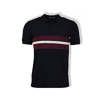 Fred Perry Sports Tape Pique Polo Shirt (Navy)