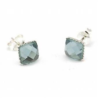 Toc Sterling Silver 6mm Grey Multi Faceted Crystal Stud Earrings