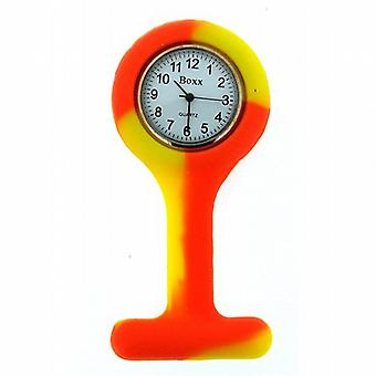 Boxx Orange and Yellow Rubber Unisex Infection Control Nurses Fob Watch