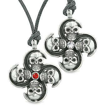 Supernatural Skull Amulet Powers Love Couples or Best Friends Set Red White Crystals Adjustable Necklaces