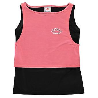 Lonsdale Girls Layer Vest Tank Tee Top Junior Sleeveless